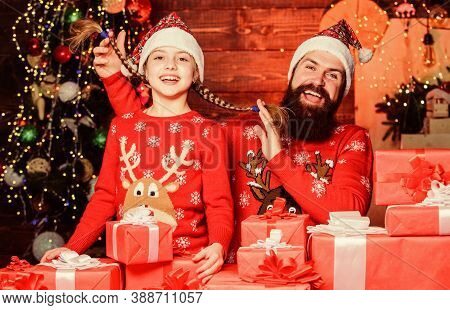 Come Santa Clause And Dont Delay. Father And Child With Gifts From Santa Claus. Father And Daughter
