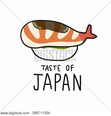 Shrimp Sushi Taste Of Japan Cartoon Vector Illustration