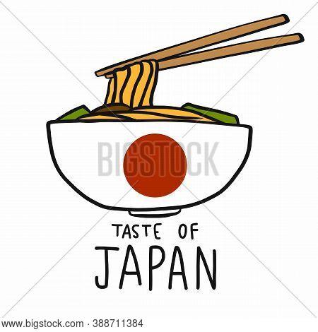 Ramen (japanese Noodle) Taste Of Japan Cartoon Vector Illustration
