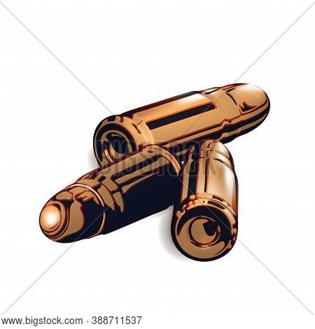 Composition From Three 3d Golden Or Brass Pistol Cartridges. Isolated Realistic On White Background.