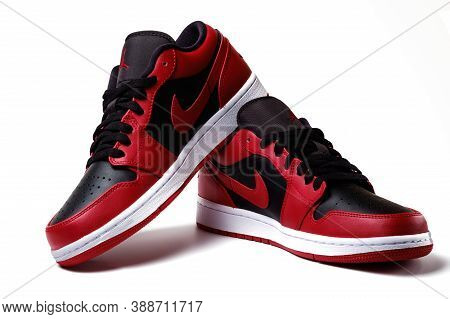 Nike Air Jordan 1 Retro Low Reverse Bred Colorway Sneakers Isolated On White Illustrative Editorial
