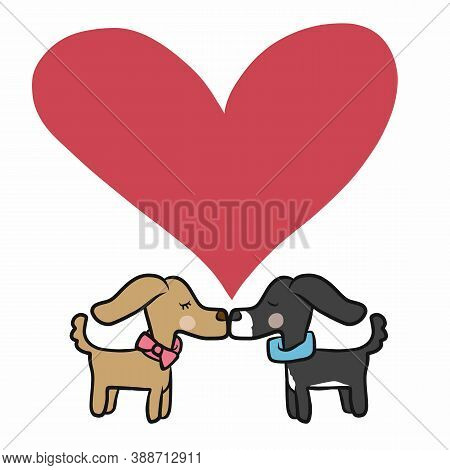 Couple Dog Kissing With Love Heart Cartoon Vector Illustration