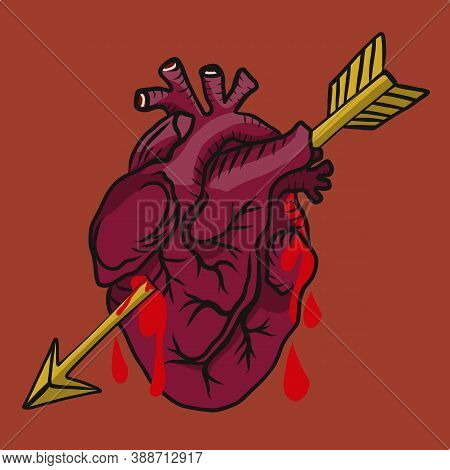 Heart With Arrow Bloody Vector Illustration Red Background