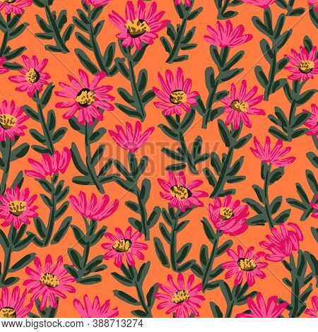 Ice Flower Lush Meadow Seamless Vector Pattern. Bright Painted Ice Plant Flowers Stacked To Form A L