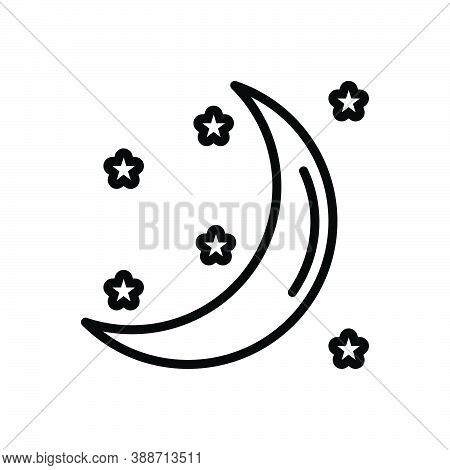 Black Line Icon For Moon Moonlight Galaxy Heaven Crescent Night Celestial Satellite Cosmos Nighttime