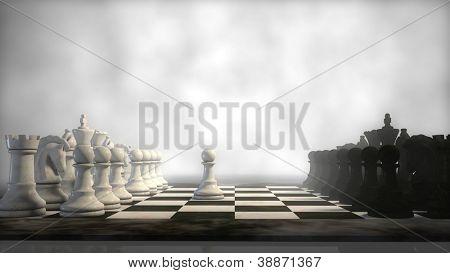 chess board in fog