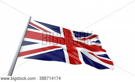 3d Render United Kingdom Flag With Flag Pole Waving In The Air. High Resolution Flag Of Great Britai