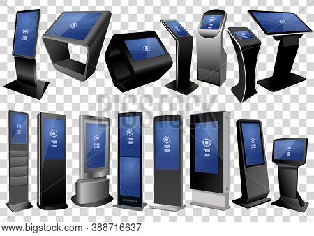 Set Of Promotional Interactive Information Kiosk, Advertising Display Isolated On Transparent Backgr