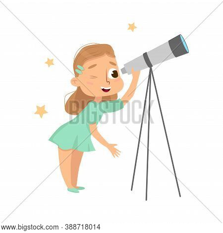 Curious Girl Looking In Telescope Studying Stars Vector Illustration