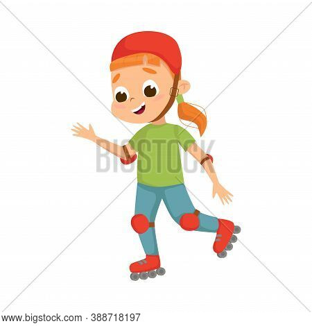 Cute Girl Roller Skating As Physical Culture Vector Illustration