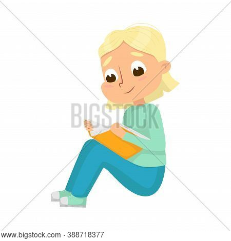Curious Girl Sitting And Reading Book Vector Illustration