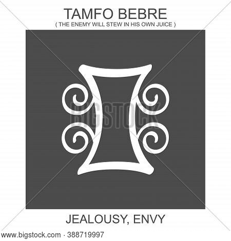 Vector Icon With African Adinkra Symbol Tamfo Bebre. Symbol Of Jealousy And Envy