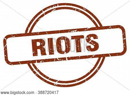 Riots Grunge Stamp. Riots Round Vintage Stamp