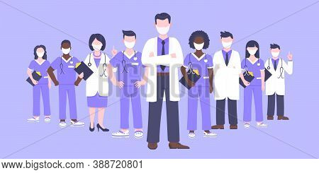 Medical Staff Doctor Team With Face Masks Clinic Employee Vector Illustration Isolated On White Back