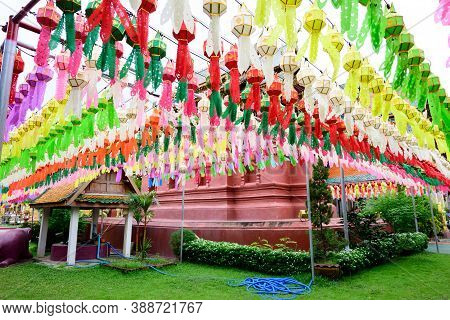 Colorful Paper Lanterns Lanna Style Hanging For Worship Or Respect Of Buddha At Wat Phra That Hariph