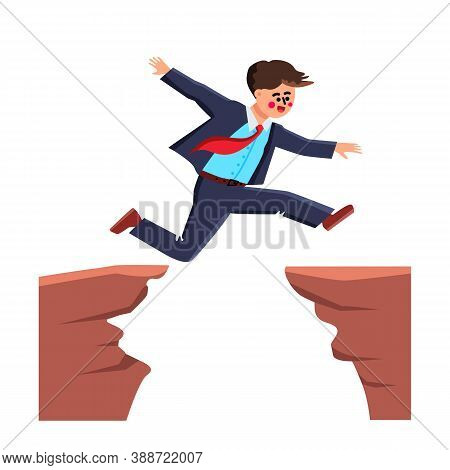 Businessman Jumping Over Abyss Challenge Vector Illustration