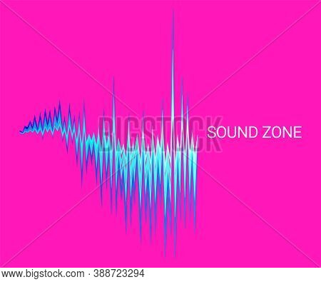Vector Sound Wave Oscillating Background. Abstract Electronic Technology Music Poster. Modern Audio
