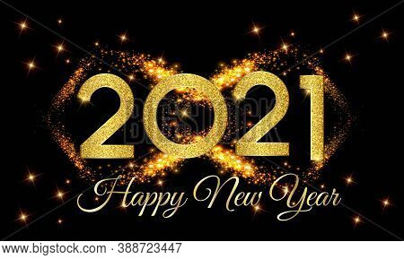 2021 Happy New Year Golden Number With Golden Light Background Illustration - Happy New Year 2021 Go
