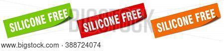 Silicone Free Sticker. Silicone Free Square Isolated Sign. Label