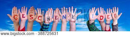 Children Hands Building Word Geschenk Idee Means Gift Idea, Blue Sky