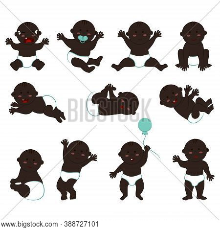 Large Vector Set Of Poses And Moods Of A Dark-skinned Naked Baby Boy In Diapers. Cliparts Of A Bald