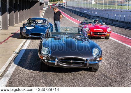 Most, Czech Republic - September 9 2020: Vintage Veteran Car Jaguar E-type Competition Roadster Stan