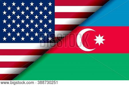Flags Of The Usa And Azerbaijan Divided Diagonally. 3d Rendering