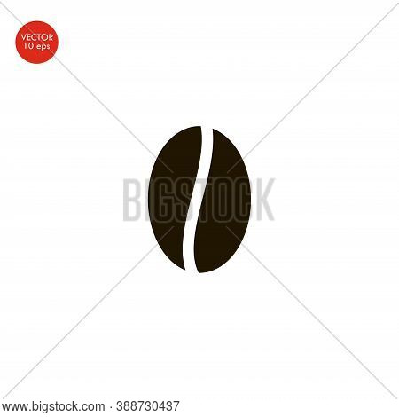 Flat Image Of The Coffee Bean Icon. Vector Illustration 10 Eps