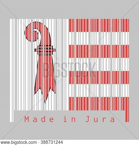 Barcode Set The Color Of Jura Flag, The Canton Of Switzerland With Text Made In Jura. Concept Of Sal