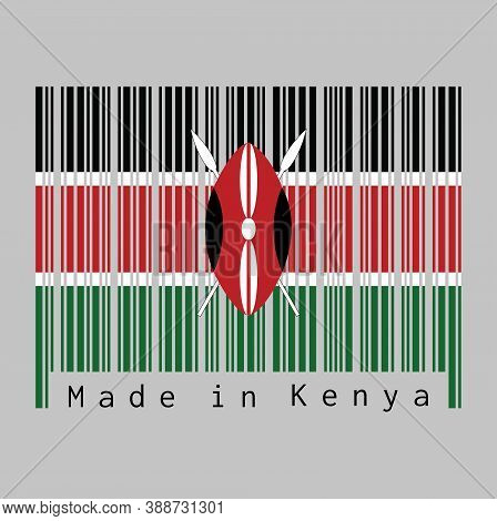 Barcode Set The Color Of Kenya Flag, Black White Red And Green With Two Crossed White Spears Behind