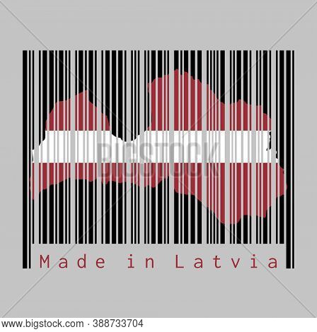 Barcode Set The Shape To Latvia Map Outline And The Color Of Latvia Flag On Black Barcode With Grey