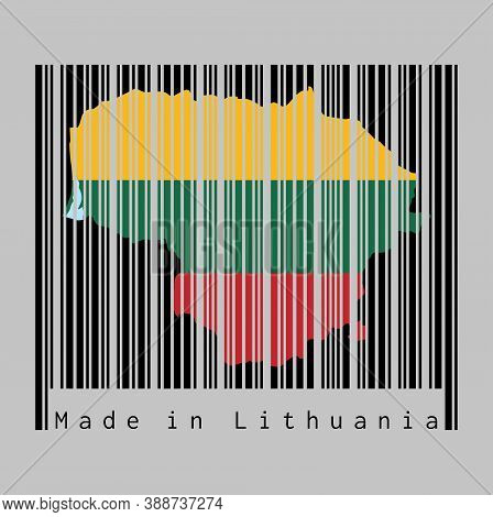 Barcode Set The Shape To Lithuania Map Outline And The Color Of Lithuania Flag On Black Barcode With
