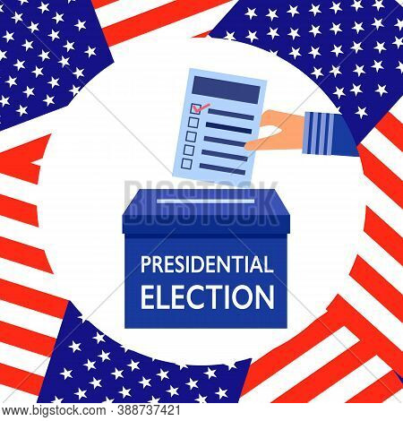 Presidential Election Voting In Flat Design Vector Illustration. Man Or Woman Hand Putting A Complet
