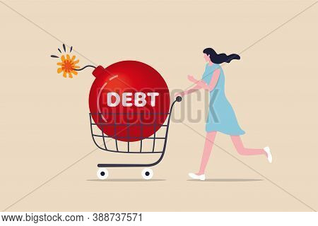 Over Shopping, Buy Thing And Pay More Than Revenue Or Income, Household Debt Or Financial Loan And M