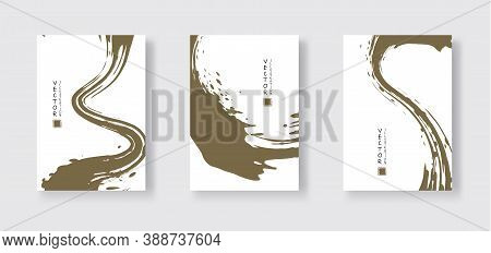 Khaki Ink Brush Stroke On White Background. Japanese Style. Vector Illustration Of Grunge Wave Stain