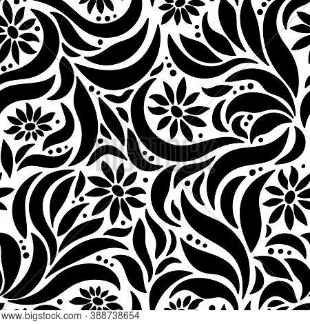 Seamless Pattern Of Abstract Flowers And Leaves. Colorful Endless Texture For Textiles, Wrap Paper A