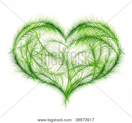Green heart vector illustration. Nature love concept