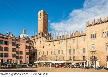 Mantua,italy - September 8,2020 - At The Sordello Place In Mantua. Mantua Is A City And Comune In Lo