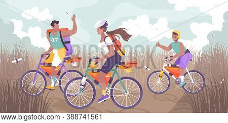 Bike Tourism Family Flat And Colored Composition Group Of People Walking On Bikes Vector Illustratio