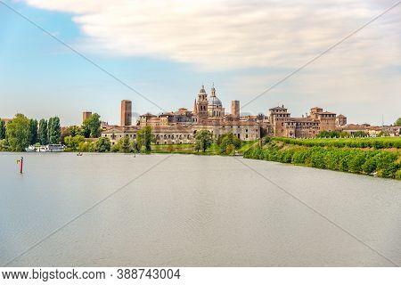 View At The City Of Mantova (mantua) With  Lake Lago Di Mezzo In Italy