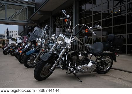 Milwaukee, Wi, Usa May 28 2011: Shiny Motorcycles Parked Outside Of The Harley-davidson Museum Build