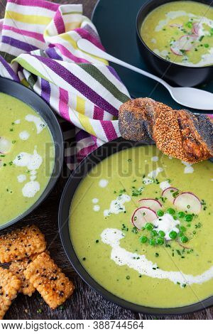 Hearty Homemade Pea Soup With Fresh Radish And Herbs
