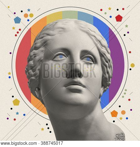 Art Collage With Antique Sculpture Of Venus Face And Lgbt Flag. Pop Art Style. Zine Culture. Lesbian