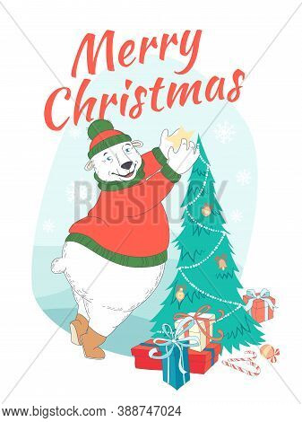 Merry Christmas Greeting Card Cute Polar Bear Wearing Knitted Sweater Ant Hat Decorating Christmas T