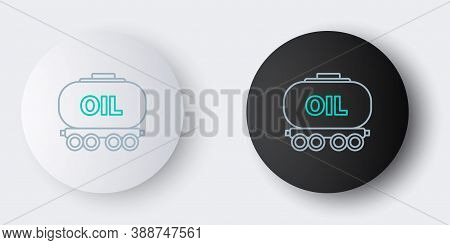Line Oil Railway Cistern Icon Isolated On Grey Background. Train Oil Tank On Railway Car. Rail Freig
