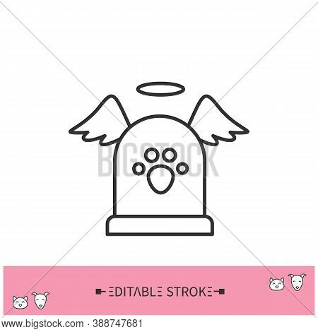 Pet Memorial Line Icon. Pet Tombstone. Domestic Animal Funerary. Pet, Canine Cemetery. Home Pets Lif