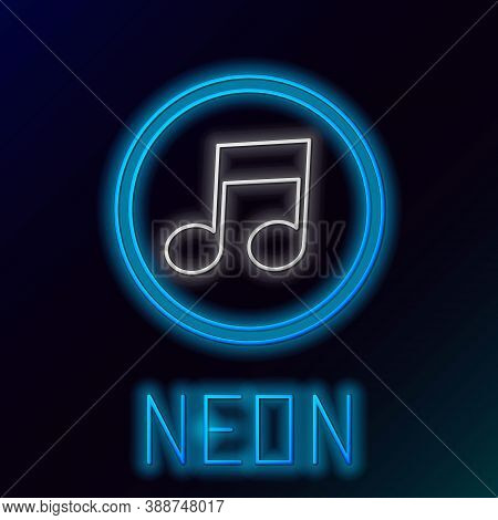 Glowing Neon Line Music Note, Tone Icon Isolated On Black Background. Colorful Outline Concept. Vect