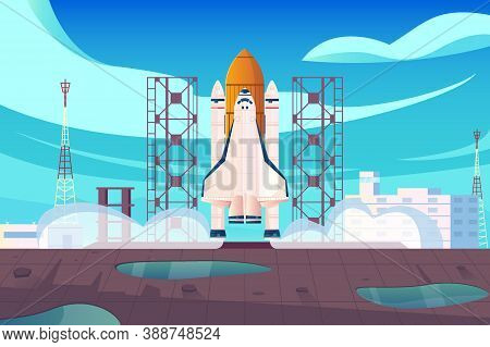 Rocket Launch Flat Composition With View Of Launching Site With Space Centre Buildings And Starting