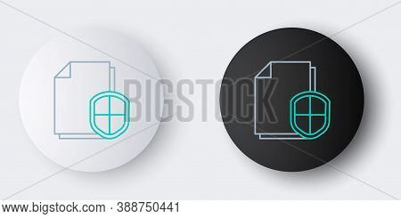 Line Document Protection Concept Icon Isolated On Grey Background. Confidential Information And Priv