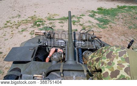 Inside In The Antique Military Tank, Weapons And Soldiers